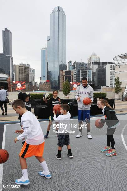 Stephen Holt Brisbane Bullets takes jumior basketballers through their paces during the 2017/18 NBL and WNBL Season Launch at Crown Towers on...