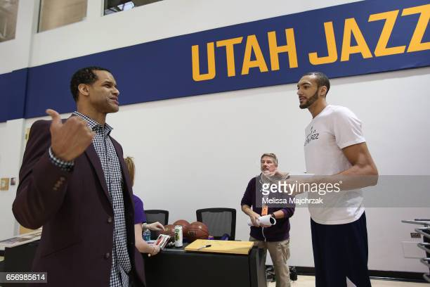 Stephen Howard and Rudy Gobert of the Utah Jazz during talk during a press interview about the 1997 Reunited Western Conference Champs at Zions Bank...
