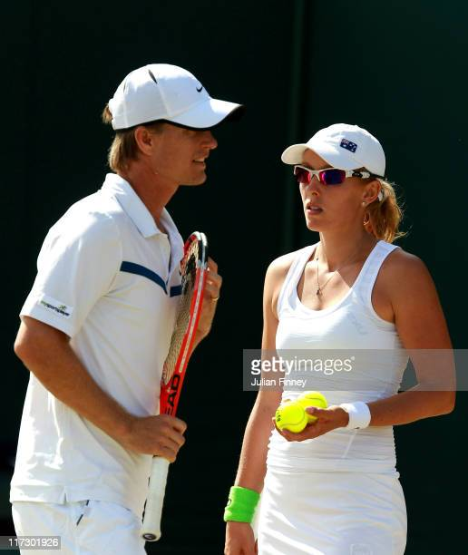 Stephen Huss and Anastasia Rodionova of Australia in action during their first round mixed doubles match against Alexander Waske and Jasmin Woehr of...