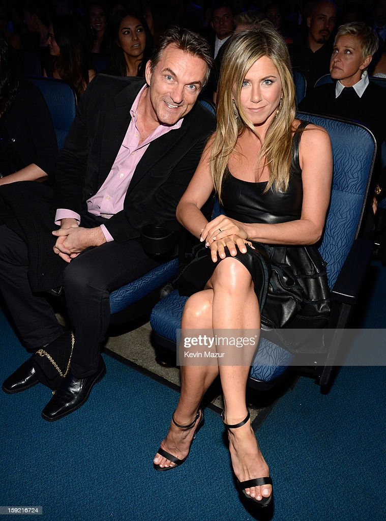 Stephen Huvane and <a gi-track='captionPersonalityLinkClicked' href=/galleries/search?phrase=Jennifer+Aniston&family=editorial&specificpeople=202048 ng-click='$event.stopPropagation()'>Jennifer Aniston</a> in the audience during 2013 People's Choice Awards at Nokia Theatre L.A. Live on January 9, 2013 in Los Angeles, California.