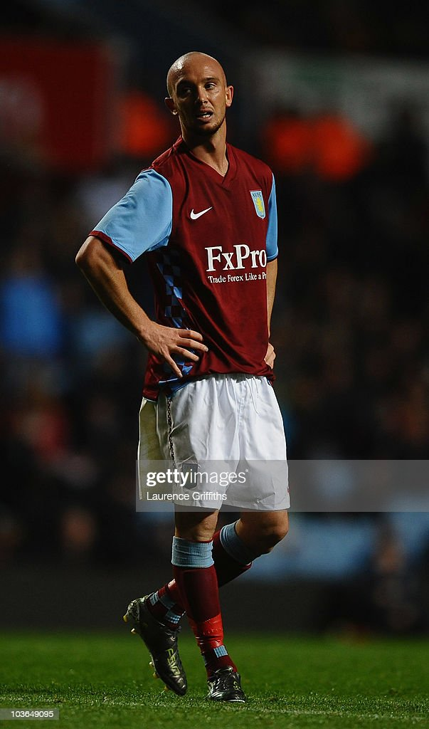 Stephen Ireland of Aston Villa shows his frustrations during the UEFA Europa League Play Off, second leg match between Aston Villa and SK Rapid Vienna at Villa Park on August 26, 2010 in Birmingham, England.