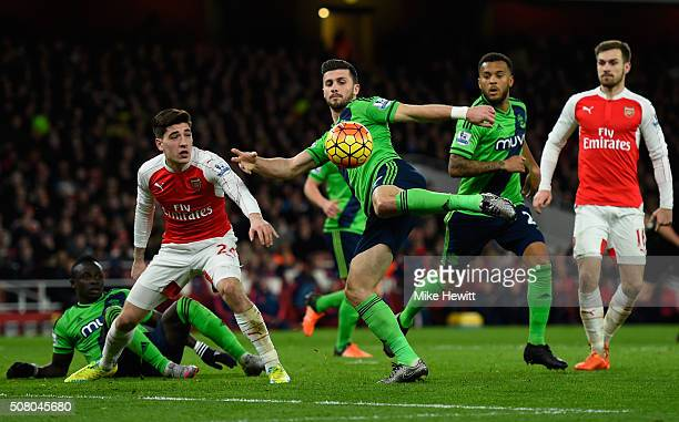 Stephen Ireland of Stoke City shoots a volley during the Barclays Premier League match between Arsenal and Southampton at the Emirates Stadium on...