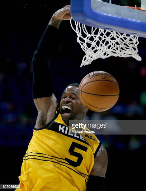 Stephen Jackson of Killer 3s dunks the ball during the game against 3's Company during week seven of the BIG3 three on three basketball league at...