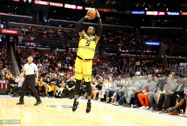 Stephen Jackson of Killer 3's takes a jump shot in the game against Trilogy during week eight of the BIG3 three on three basketball league at Staples...