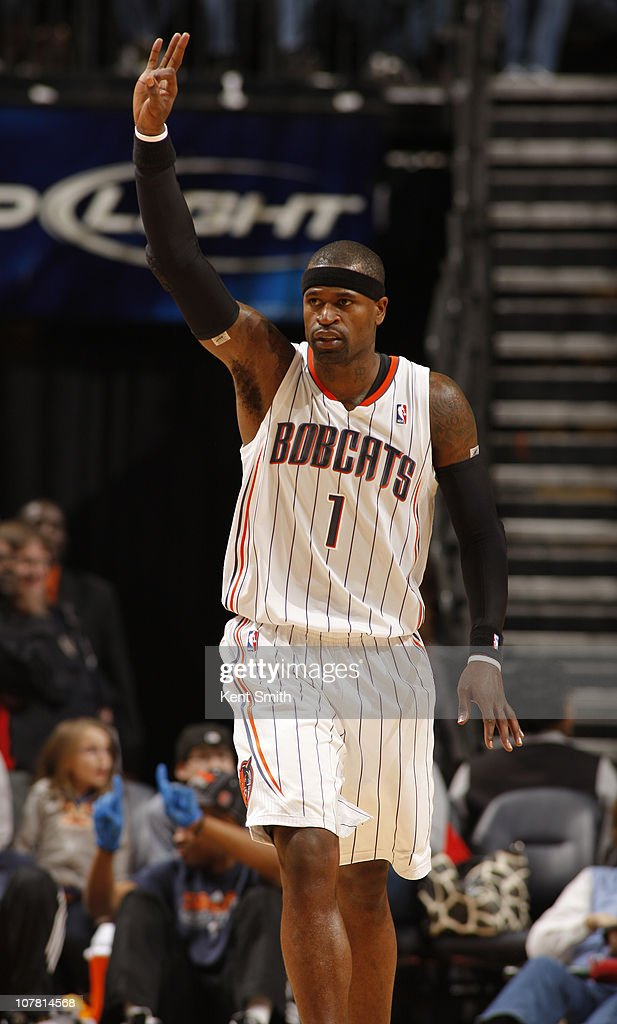 Stephen Jackson #1 of the Charlotte Bobcats celebrates a three against the Cleveland Cavaliers on December 29, 2010 at Time Warner Cable Arena in Charlotte, North Carolina.