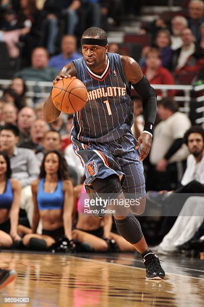 Stephen Jackson of the Charlotte Bobcats dribbles the ball upcourt against the Chicago Bulls during the game at United Center on April 3 2010 in...