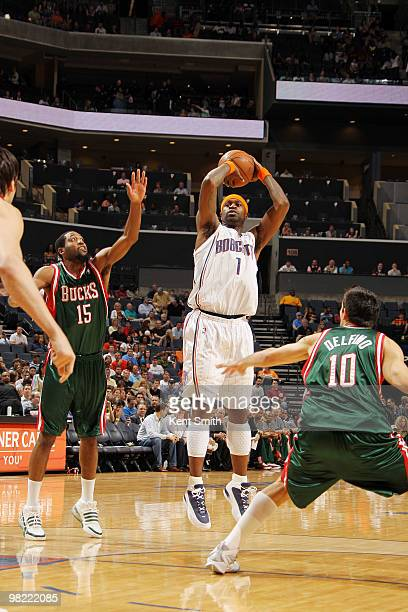 Stephen Jackson of the Charlotte Bobcats shoots a jumpshot against Carlos Delfino of the Milwaukee Bucks on April 2 2010 at the Time Warner Cable...
