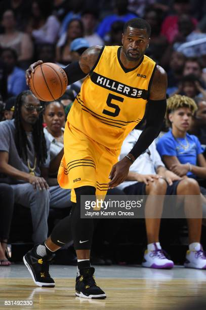 Stephen Jackson of the Killer 3s controls the ball against the Trilogy during week eight of the BIG3 three on three basketball league at Staples...