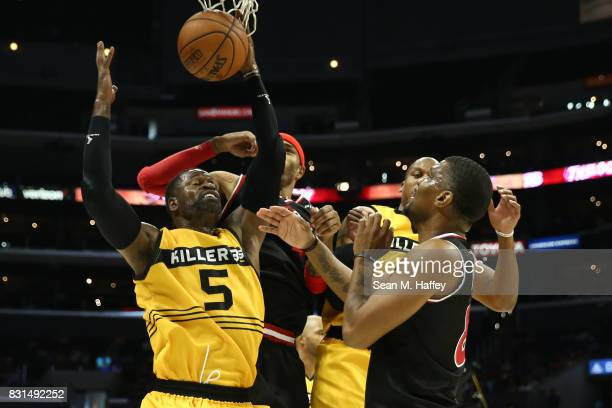 Stephen Jackson of the Killer 3s grabs a rebound against the Trilogy during week eight of the BIG3 three on three basketball league at Staples Center...