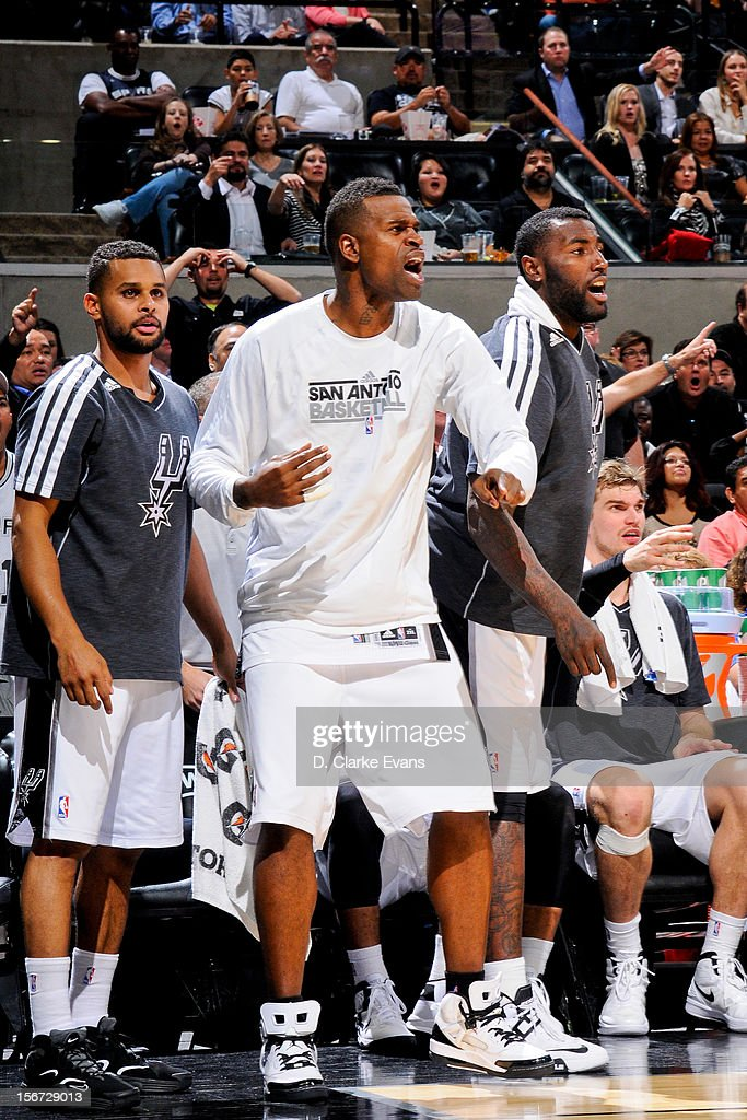 Stephen Jackson #3 of the San Antonio Spurs cheers his teammates on from the sideline against the Los Angeles Clippers on November 19, 2012 at the AT&T Center in San Antonio, Texas.