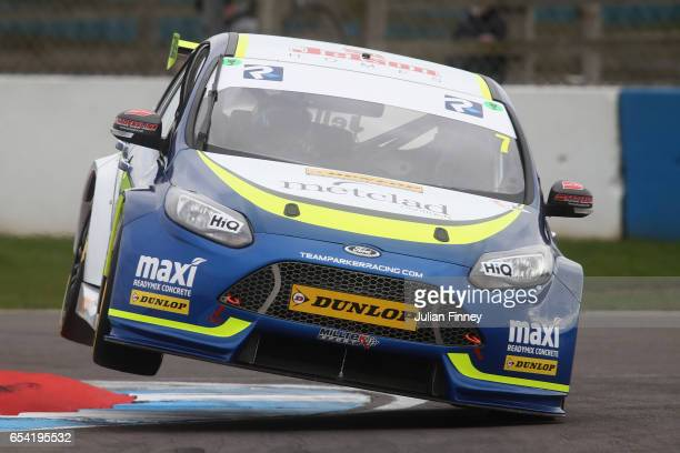 Stephen Jelley and Ford Focus in a practice session at Donington Park on March 16 2017 in Castle Donington England