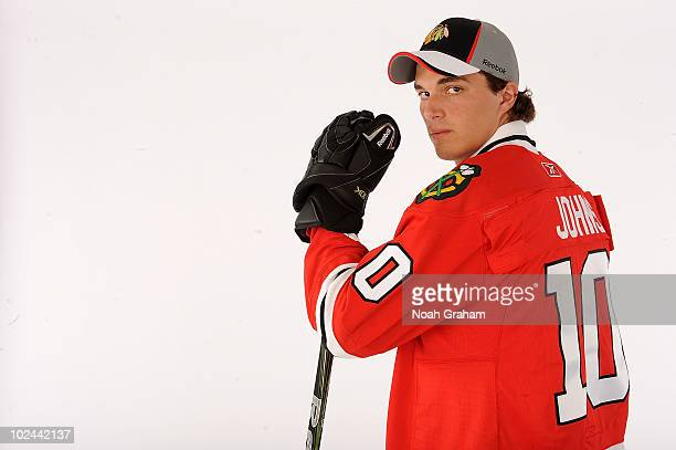 Stephen Johns drafted in the second round by the Chicago Blackhawks poses for a portrait during the 2010 NHL Entry Draft at Staples Center on June 26...