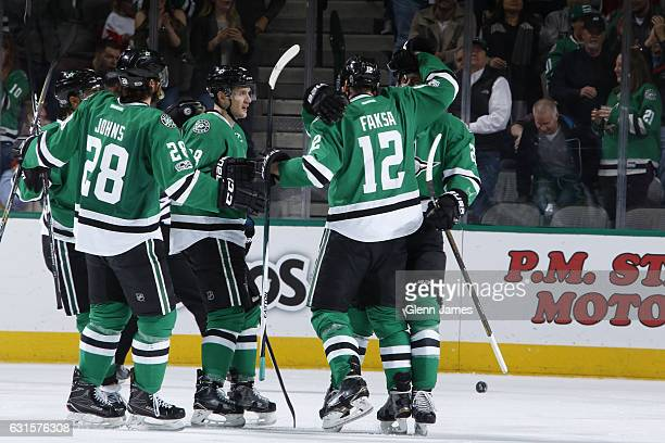 Stephen Johns Lauri Korpikoski Radek Faksa and the Dallas Stars celebrate a goal against the Detroit Red Wings at the American Airlines Center on...