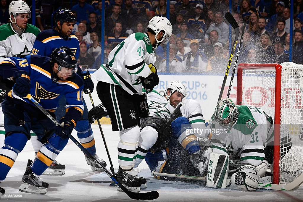 <a gi-track='captionPersonalityLinkClicked' href=/galleries/search?phrase=Stephen+Johns&family=editorial&specificpeople=7029378 ng-click='$event.stopPropagation()'>Stephen Johns</a> #28 of the Dallas Stars falls on top of <a gi-track='captionPersonalityLinkClicked' href=/galleries/search?phrase=Kyle+Brodziak&family=editorial&specificpeople=2165412 ng-click='$event.stopPropagation()'>Kyle Brodziak</a> #28 of the St. Louis Blues as <a gi-track='captionPersonalityLinkClicked' href=/galleries/search?phrase=Kari+Lehtonen&family=editorial&specificpeople=211612 ng-click='$event.stopPropagation()'>Kari Lehtonen</a> #32 protects the net in Game Four of the Western Conference Second Round during the 2016 NHL Stanley Cup Playoffs at the Scottrade Center on May 5, 2016 in St. Louis, Missouri.