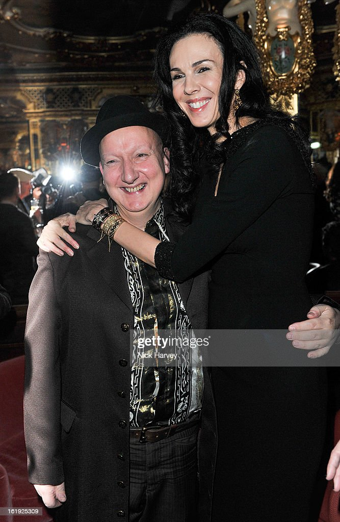 Stephen Jones and <a gi-track='captionPersonalityLinkClicked' href=/galleries/search?phrase=L%27Wren+Scott+-+Fashion+Designer&family=editorial&specificpeople=566708 ng-click='$event.stopPropagation()'>L'Wren Scott</a> attend the <a gi-track='captionPersonalityLinkClicked' href=/galleries/search?phrase=L%27Wren+Scott+-+Fashion+Designer&family=editorial&specificpeople=566708 ng-click='$event.stopPropagation()'>L'Wren Scott</a> cocktail party during London Fashion Week Fall/Winter 2013/14 at on February 17, 2013 in London, England.