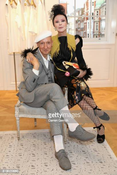 Stephen Jones and Valerie Von Sobel attend the Dior cocktail party to celebrate the launch of Dior Catwalk by Alexander Fury on July 19 2017 in...