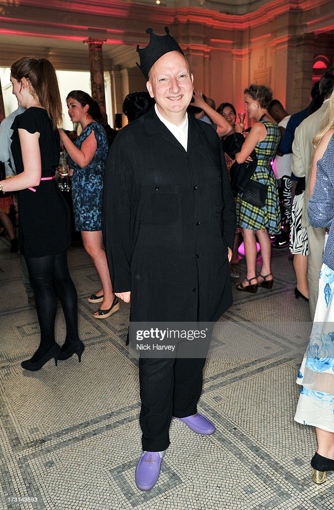 Stephen Jones attends the Club To Catwalk: London Fashion In The 1980's exhibition at Victoria & Albert Museum on July 8, 2013 in London, England.