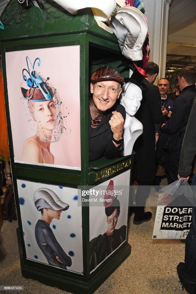 Stephen Jones attends the Dover Street Market open house on October 6, 2017 in London, England.