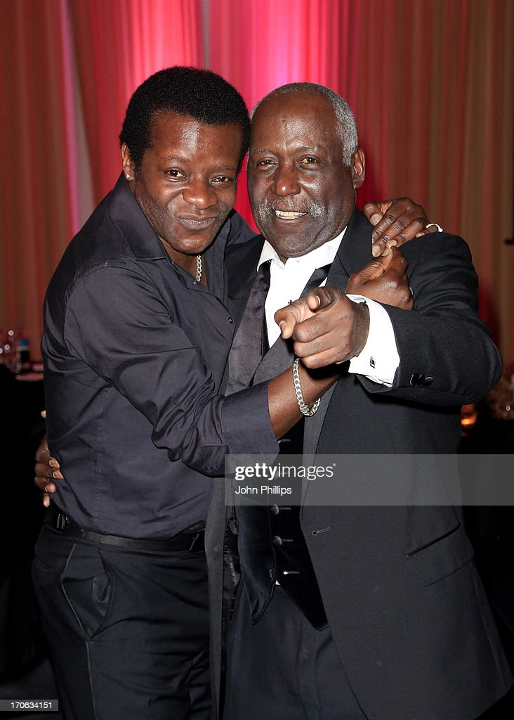 Stephen K. Amos and Richard Roundtree during the Affinity Real Estate Shooting Stars Benefit Gala Ball at The Grove Hotel on June 15, 2013 in Hertford, England.