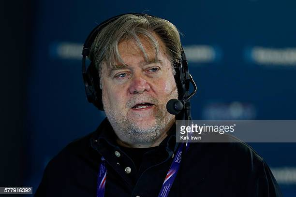 Stephen K Bannon talks about immigration issues with a caller while hosting Brietbart News Daily on SiriusXM Patriot at Quicken Loans Arena on July...