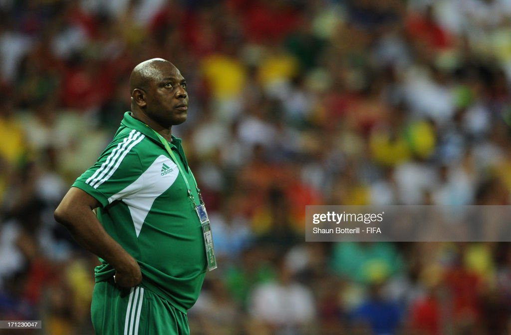 <a gi-track='captionPersonalityLinkClicked' href=/galleries/search?phrase=Stephen+Keshi&family=editorial&specificpeople=774165 ng-click='$event.stopPropagation()'>Stephen Keshi</a> head coach of Nigeria looks on during the FIFA Confederations Cup Brazil 2013 Group B match between Nigeria and Spain at Castelao on June 23, 2013 in Fortaleza, Brazil.