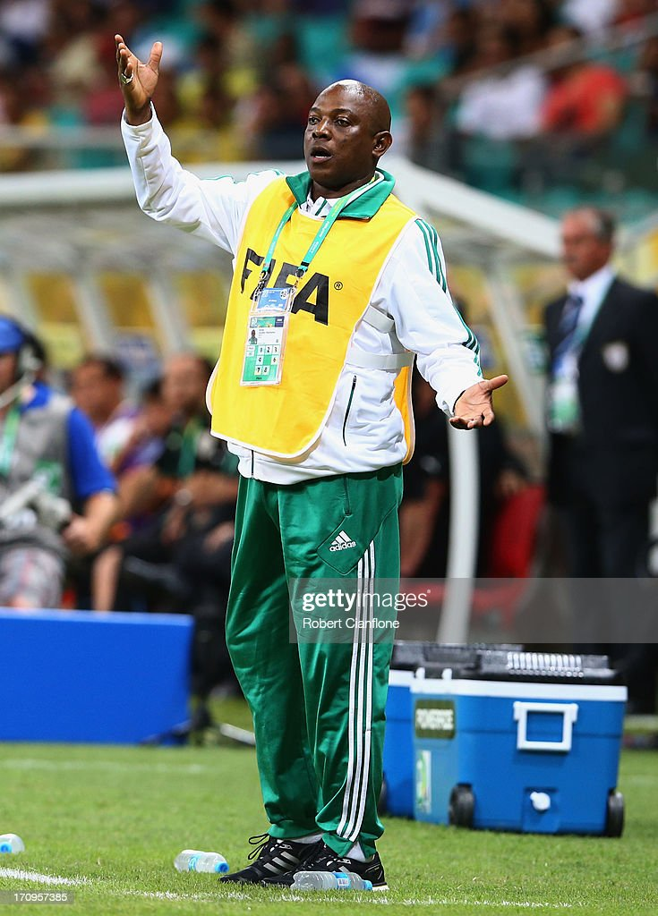 <a gi-track='captionPersonalityLinkClicked' href=/galleries/search?phrase=Stephen+Keshi&family=editorial&specificpeople=774165 ng-click='$event.stopPropagation()'>Stephen Keshi</a> head coach of Nigeria reacts during the FIFA Confederations Cup Brazil 2013 Group B match between Nigeria and Uruguay at Estadio Octavio Mangabeira (Arena Fonte Nova Salvador) on June 20, 2013 in Salvador, Brazil.