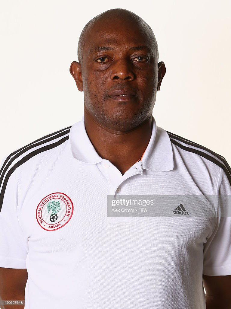 <a gi-track='captionPersonalityLinkClicked' href=/galleries/search?phrase=Stephen+Keshi&family=editorial&specificpeople=774165 ng-click='$event.stopPropagation()'>Stephen Keshi</a> of Nigeria poses during the official FIFA World Cup 2014 portrait session on June 12, 2014 in Campinas, Brazil.