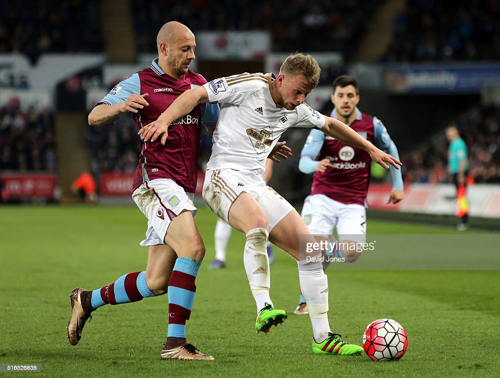 Stephen Kingsley of Swanseae City controls the ball under pressure of <a gi-track='captionPersonalityLinkClicked' href=/galleries/search?phrase=Alan+Hutton&family=editorial&specificpeople=839355 ng-click='$event.stopPropagation()'>Alan Hutton</a> of Aston Villa during the Barclays Premier League match between Swansea City and Aston Villa at Liberty Stadium on March 19, 2016 in Swansea, United Kingdom.