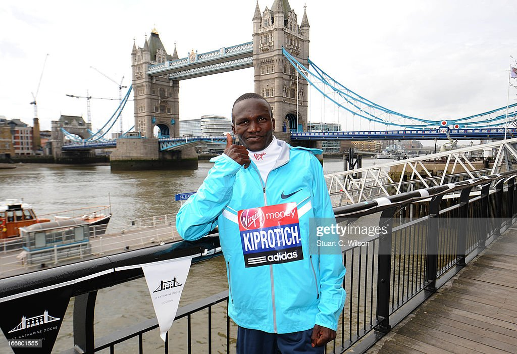 <a gi-track='captionPersonalityLinkClicked' href=/galleries/search?phrase=Stephen+Kiprotich&family=editorial&specificpeople=7069481 ng-click='$event.stopPropagation()'>Stephen Kiprotich</a> attend a photocall ahead of taking part in the Virgin London Marathon at The Tower Hotel on April 17, 2013 in London, England.
