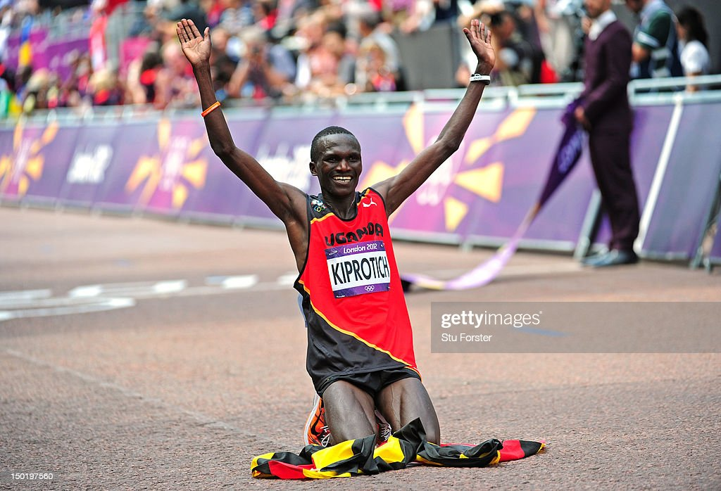 <a gi-track='captionPersonalityLinkClicked' href=/galleries/search?phrase=Stephen+Kiprotich&family=editorial&specificpeople=7069481 ng-click='$event.stopPropagation()'>Stephen Kiprotich</a> of Uganda celebrates winning gold in the Men's Marathon on Day 16 of the London 2012 Olympic Games at The Mall on August 12, 2012 in London, England.