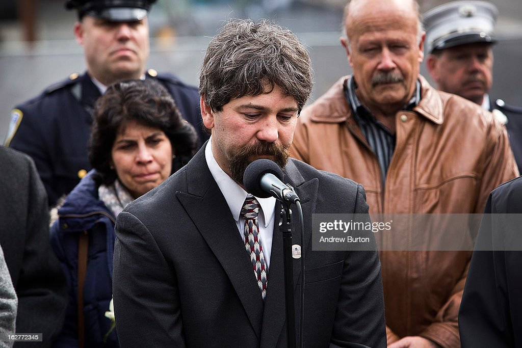 Stephen Knapp, a son of a victim from the 1993 World Trade Center bombing, speaks during the 20th Anniversary Ceremony at Ground Zero on February 26, 2013 in New York City. The attack, which utilized a car bomb and hit the north tower, killed six people.