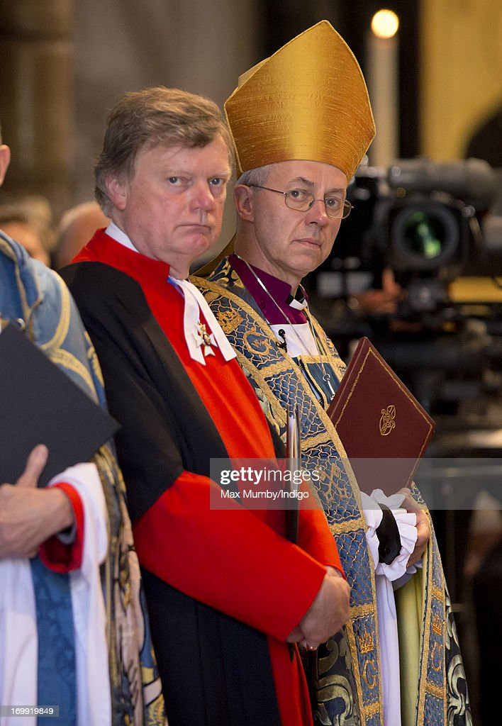Stephen Lamport (Receiver General of Westminster Abbey) and The Archbishop of Canterbury, Justin Welby attend a service of celebration to mark the 60th anniversary of the Coronation of Queen Elizabeth II at Westminster Abbey on June 4, 2013 in London, England. The Queen's Coronation took place on June 2, 1953 after a period of mourning for her father King George VI, following her ascension to the throne on February 6, 1952. The event 60 years ago was the first time a coronation was televised for the public.