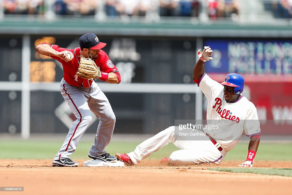 Stephen Lombardozzi #1 of the Washington Nationals forces an out at second before <a gi-track='captionPersonalityLinkClicked' href=/galleries/search?phrase=John+Mayberry+Jr.&family=editorial&specificpeople=4959058 ng-click='$event.stopPropagation()'>John Mayberry Jr.</a> #15 of the Philadelphia Phillies can get to the base in the second inning of the game at Citizens Bank Park on August 26, 2012 in Philadelphia, Pennsylvania.