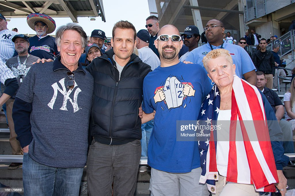 Stephen Macht, Gabriel Macht, Bald Vinny Milano and Teena Lewis attend the Oakland Athletics vs New York Yankees game at Yankee Stadium on May 5, 2013 in New York City.
