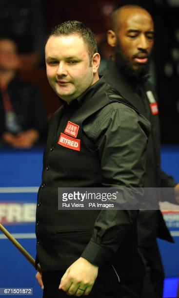 Stephen Maguire during his match against Rory McLeod on day eight of the Betfred Snooker World Championships at the Crucible Theatre Sheffield