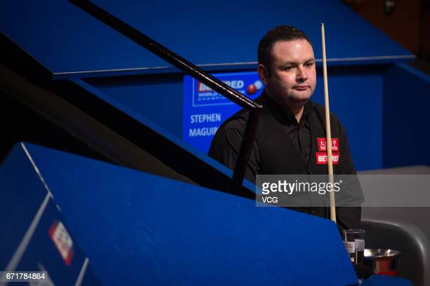 Stephen Maguire of Scotland reacts during his second round match against Rory McLeod of England on day eight of Betfred World Championship 2017 at...