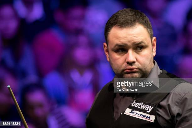 Stephen Maguire of Scotland reacts in the semifinal match against Ronnie O'Sullivan of England during 2017 Betway UK Championship at Barbican Centre...