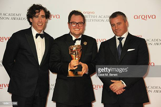 Stephen Mangan Alan Carr winner of Best Entertainment Performance and Matt Leblanc pose in the press room at the Arqiva British Academy Television...