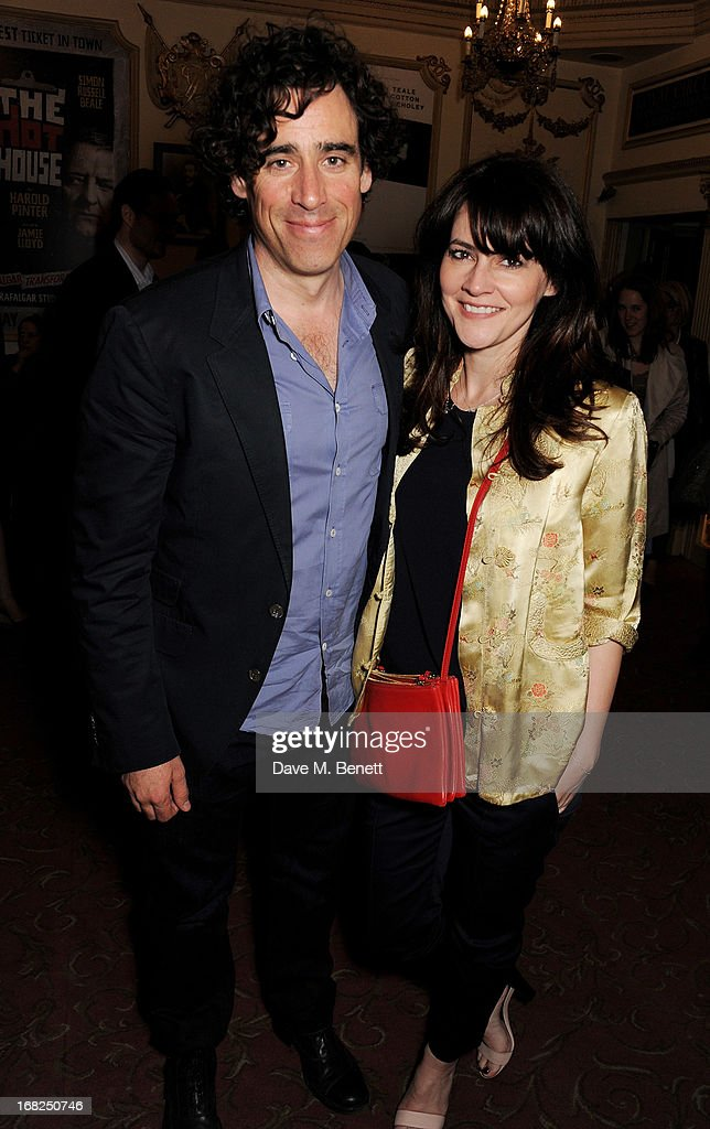 Stephen Mangan (L) and Louise Delamere pose in the foyer following the press night performance of 'Passion Play' at the Duke Of York's Theatre on May 7, 2013 in London, England.