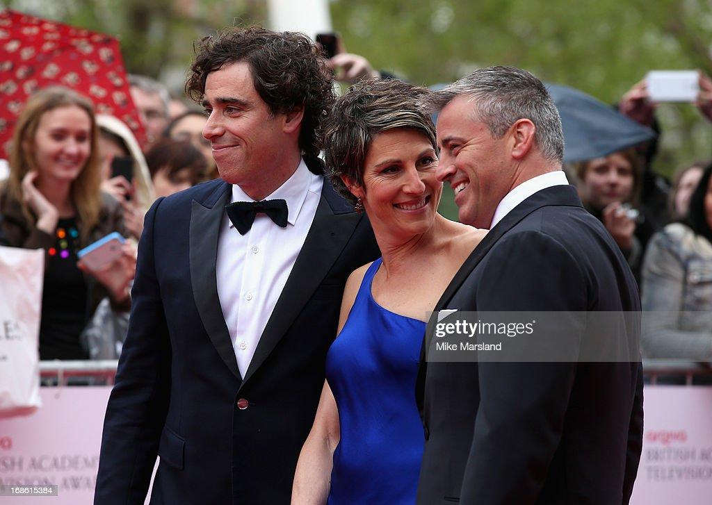 Stephen Mangan, Tamsin Greig and Matt LeBlanc attend the Arqiva British Academy Television Awards 2013 at the Royal Festival Hall on May 12, 2013 in London, England.