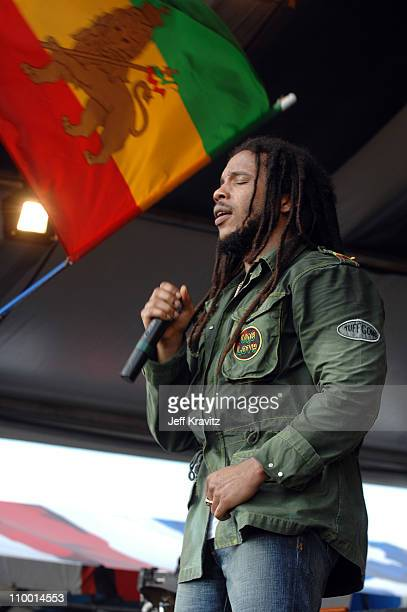 Stephen Marley during 38th Annual New Orleans Jazz Heritage Festival Presented by Shell Stephen Marley featuring Jr Gong at New Orleans Fair Grounds...