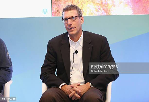Stephen Master speaks onstage during It's Up for Grabs How Data is Shaping Fan Loyalty panel at Thomson Reuters during 2016 Advertising Week New York...
