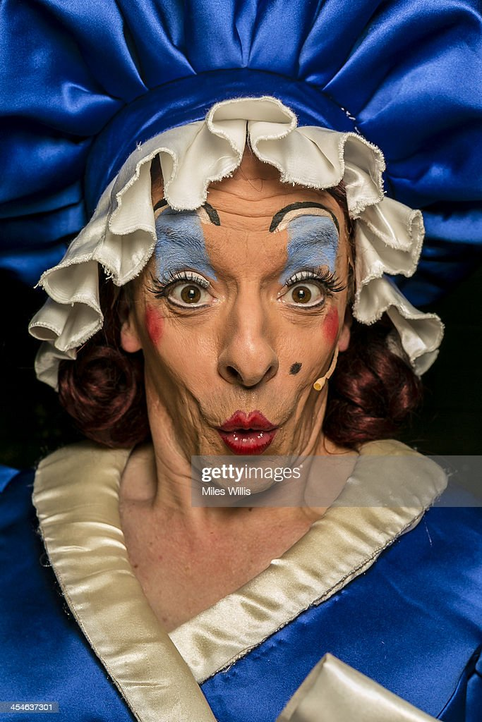Stephen Matthews playing 'Dame' poses for a portrait during the Puss in Boots pantomime at the Hackney Empire on December 6, 2013 in London, England.