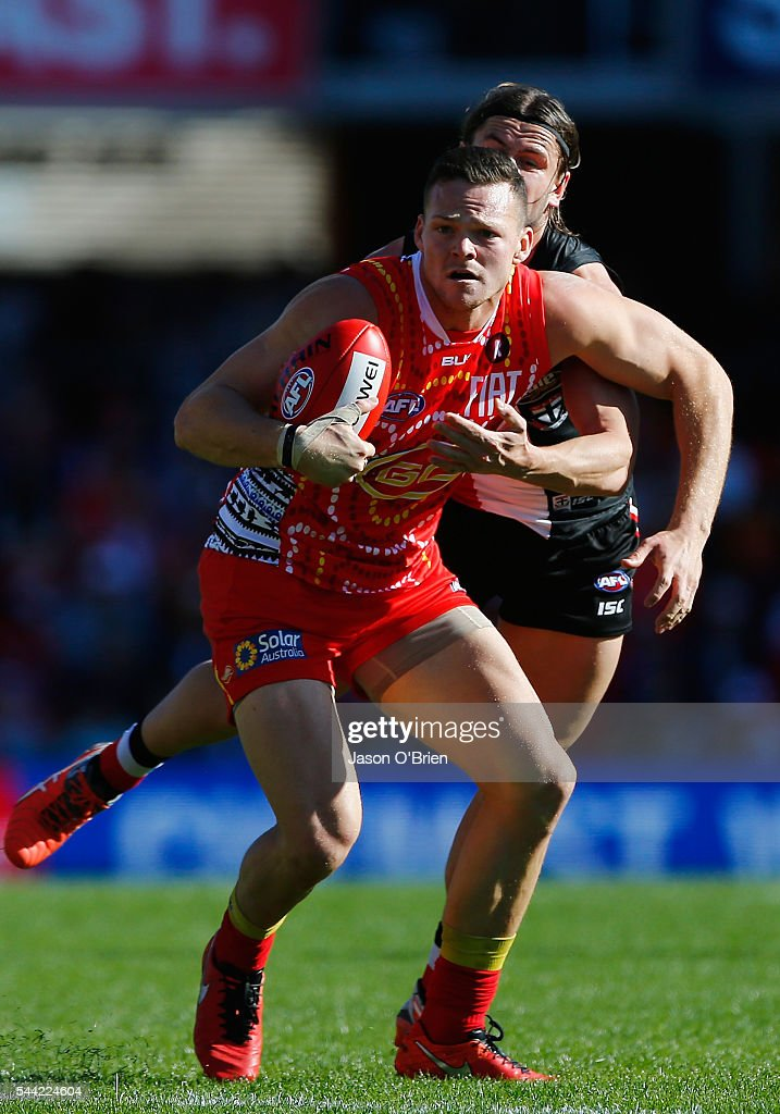 Stephen May of the suns in action during the round 15 AFL match between the Gold Coast Suns and the St Kilda Saints at Metricon Stadium on July 2, 2016 in Gold Coast, Australia.