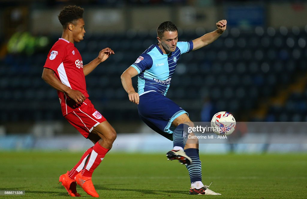 Stephen McGinn of Wycombe Wanderers during the EFL Cup match between Wycombe Wanderers and Bristol City at Adams Park on August 8 2016 in High...