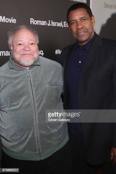 Stephen McKinley Henderson and Denzel Washington attend 'Roman J Israel Esquire' New York Premiere on November 20 2017 in New York City