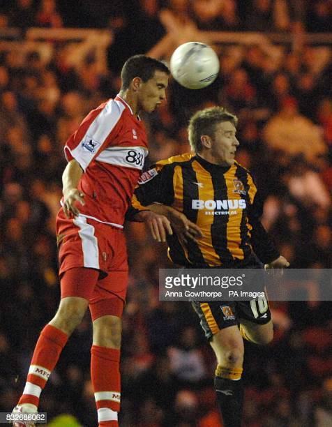 Stephen McPhee Hull City and Seb Hines Middlesbrough battle for the ball