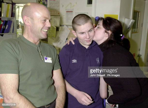 Stephen Menary the 14 year old boy who was badly injured by a terrorist bomb on the 21st February 2001 gets a leaving kiss from Jnr Sister Clare...
