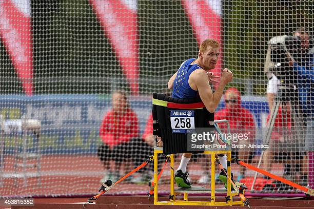 Stephen Miller of Great Britain competes in the Men's Club Throw F32 event during day one of the IPC Athletics European Championships at Swansea...