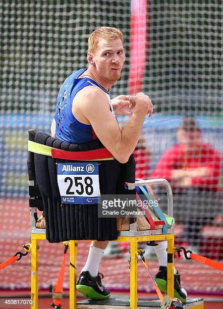 Stephen Miller of Great Britain competes in the Men's Club Throw F32 during day one of the IPC Athletics European Championships at Swansea University...